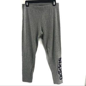 Adidas Gray and Navy Blue Logo Legging Pants Sz L